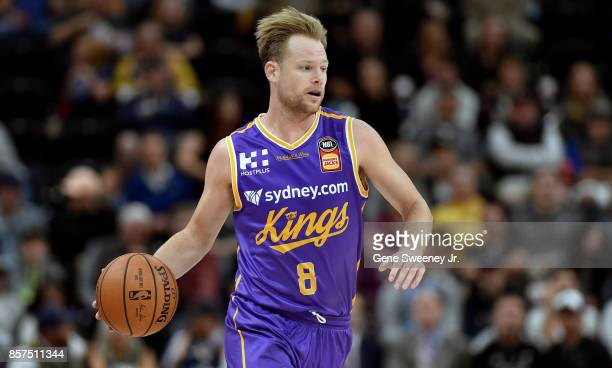 Brad Newley of the Sydney Kings brings the ball up court against the Utah Jazz at Vivint Smart Home Arena on October 2 2017 in Salt Lake City Utah...