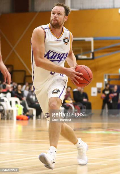 Brad Newley of the Sydney Kings controls the ball during the 2017 NBL Blitz preseason match between the Sydney Kings and the Brisbane Bullets at...