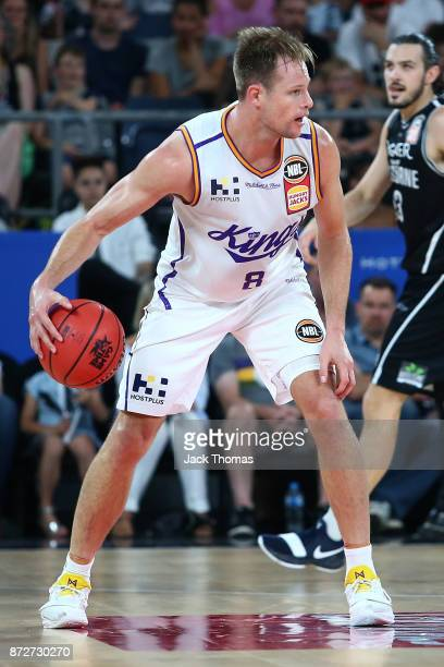 Brad Newley of the Sydney Kings dribbles the ball during the round six NBL match between Melbourne United and the Sydney Kings at Hisense Arena on...