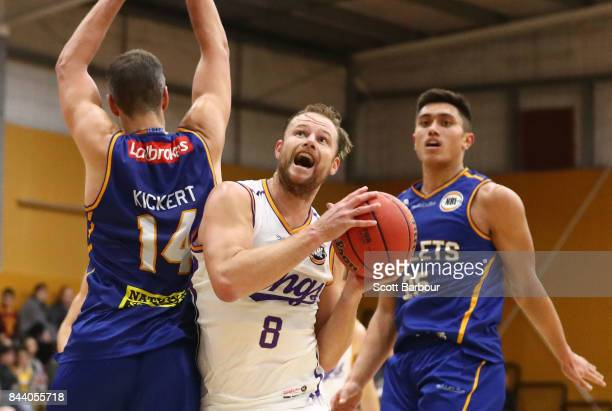 Brad Newley of the Sydney Kings drives to the basket during the 2017 NBL Blitz preseason match between the Sydney Kings and the Brisbane Bullets at...