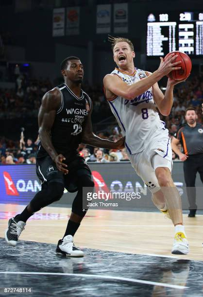 Brad Newley of the Sydney Kings drives to the basket during the round six NBL match between Melbourne United and the Sydney Kings at Hisense Arena on...