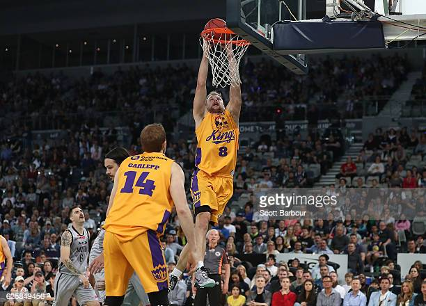 Brad Newley of the Sydney Kings dunks the ball during the round eight NBL match between Melbourne United and the Sydney Kings at Hisense Arena on...