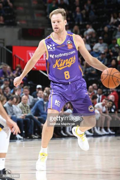 Brad Newley of the Sydney Kings handles the ball against the Utah Jazz during a preseason game on October 2 2017 at vivintSmartHome Arena in Salt...