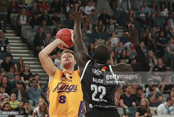 Brad Newley of the Sydney Kings shoots the ball during the round six NBL match between Melbourne United and the Sydney Kings at Hisense Arena on...