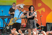 Brad Paisley and Demi Lovato perform on ABC's 'Good Morning America' at SummerStage at Rumsey Playfield Central Park on June 24 2016 in New York City