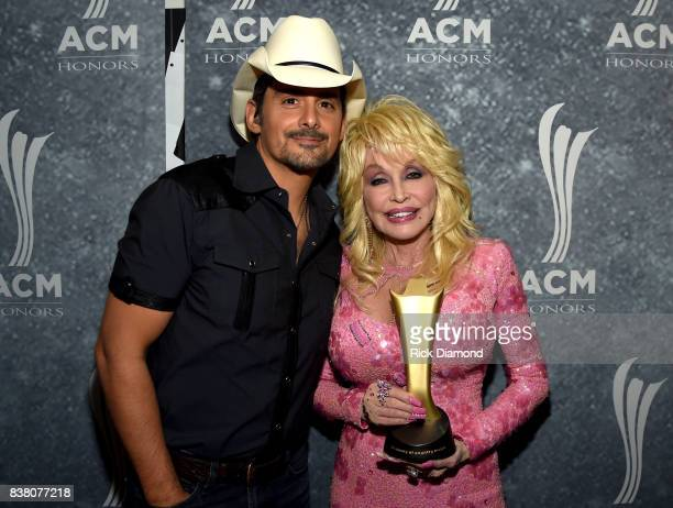Brad Paisley and honoree Dolly Parton attend the 11th Annual ACM Honors at the Ryman Auditorium on August 23 2017 in Nashville Tennessee
