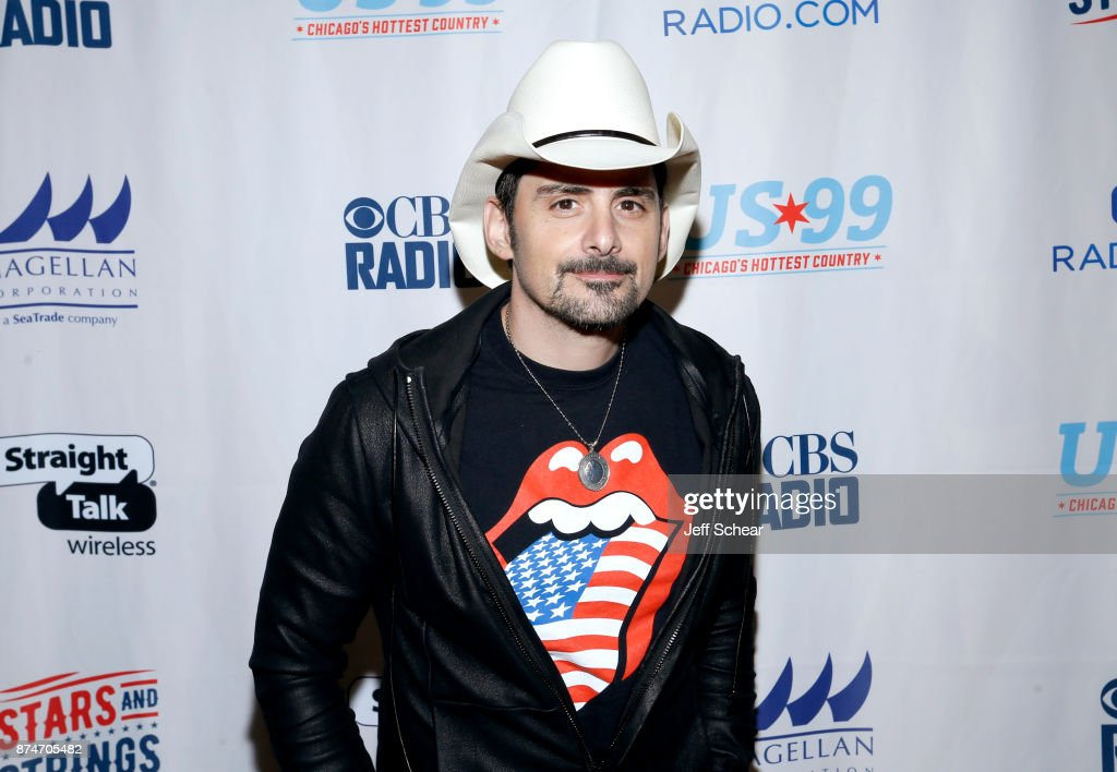 Brad Paisley attends a meet & greet for CBS RADIO's Third Annual 'Stars and Strings' Concert to honor our nation's veterans at Chicago Theatre on November 15, 2017 in Chicago, Illinois.