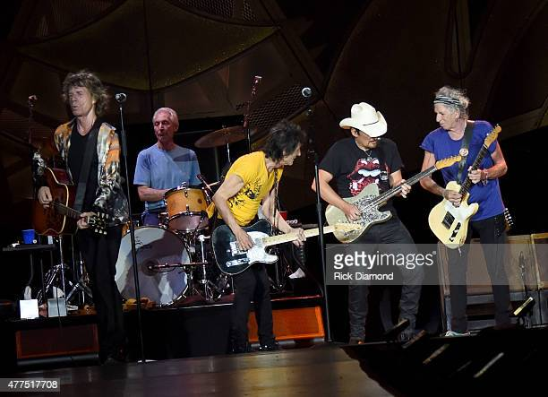 Brad Paisley joins The Rolling Stones Mick Jagger Charlie Watts Ronnie Wood and Keith Richards during The Rolling Stones North American 'ZIP CODE'...