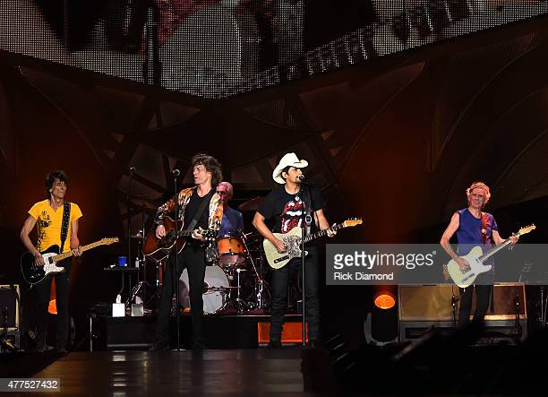 Brad Paisley joins The Rolling Stones Ronnie Wood Mick Jagger Charlie Watts and Keith Richards during The Rolling Stones North American 'ZIP CODE'...