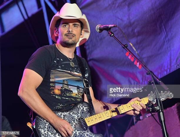 Brad Paisley performs at Country Thunder Twin Lakes Wisconsin Day 3 on July 20 2013 in Twin Lakes Wisconsin