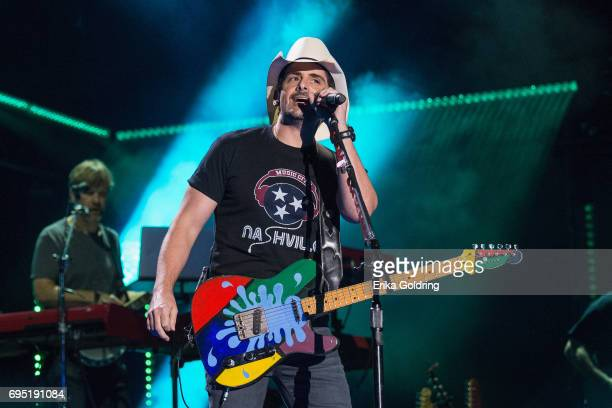 Brad Paisley performs during the 2017 CMA Music Festival on June 11 2017 in Nashville Tennessee