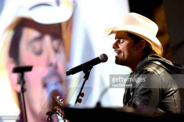 Brad Paisley performs during the TJ Martell Foundation 9th Annual Nashville Honors Gala at Omni Hotel on February 27 2017 in Nashville Tennessee