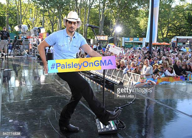 AMERICA Brad Paisley performs live from Central park in New York City as part of the Summer Concert Series on 'Good Morning America' 6/24/16 airing...