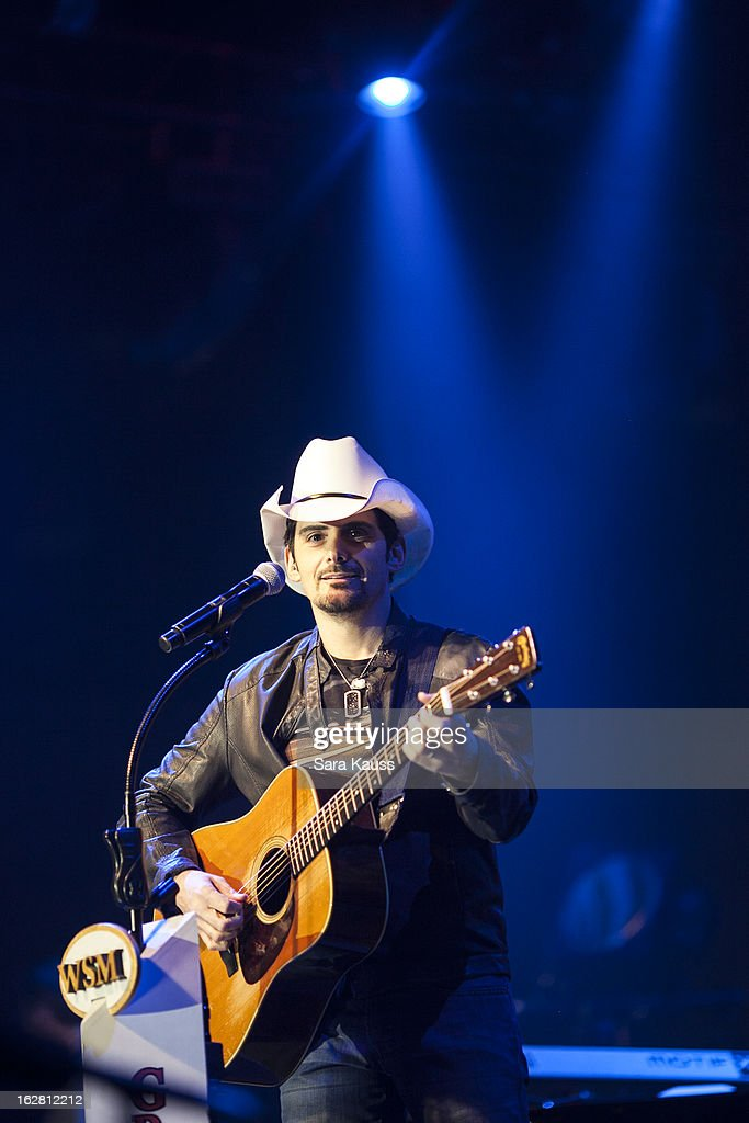 <a gi-track='captionPersonalityLinkClicked' href=/galleries/search?phrase=Brad+Paisley&family=editorial&specificpeople=206616 ng-click='$event.stopPropagation()'>Brad Paisley</a> performs onstage during CRS 2013 on February 27, 2013 at the Grand Ole Opry in Nashville, Tennessee.