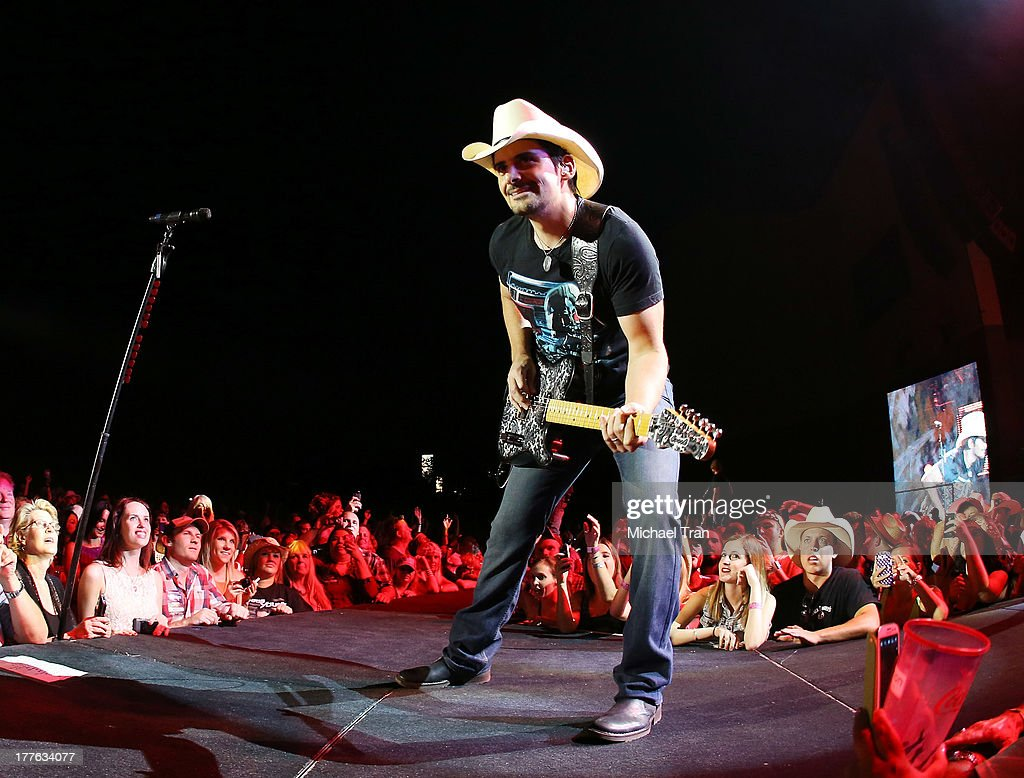 Brad Paisley performs onstage during the 'Beat This Summer Tour' held at San Manuel Amphitheater on August 24 2013 in San Bernardino California
