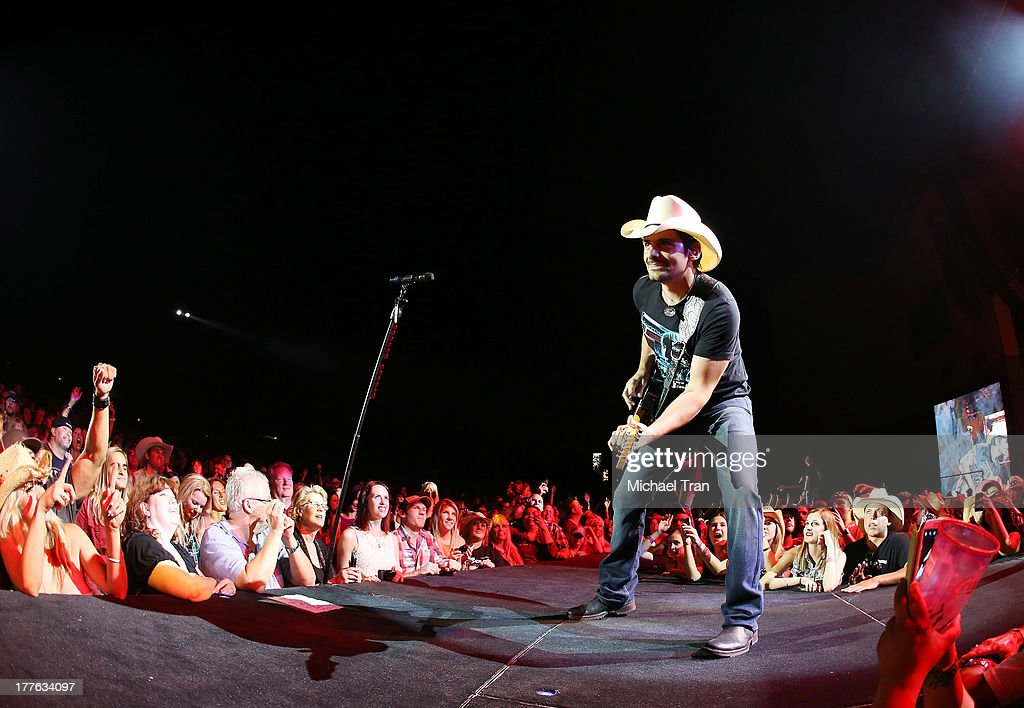 <a gi-track='captionPersonalityLinkClicked' href=/galleries/search?phrase=Brad+Paisley&family=editorial&specificpeople=206616 ng-click='$event.stopPropagation()'>Brad Paisley</a> performs onstage during the 'Beat This Summer Tour' held at San Manuel Amphitheater on August 24, 2013 in San Bernardino, California.