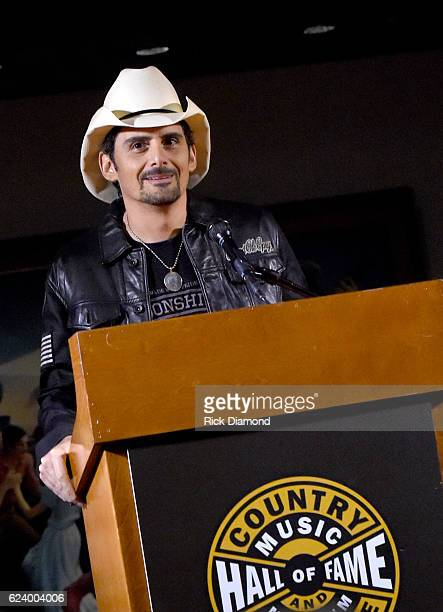 Brad Paisley speaks onstage during the debut of 'Brad Paisley Diary of a Player' Exhibit at Country Music Hall of Fame and Museum on November 17 2016...