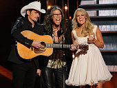 Brad Paisley Steven Tyler and Carrie Underwood perform during the 48th annual CMA awards at the Bridgestone Arena on November 5 2014 in Nashville...