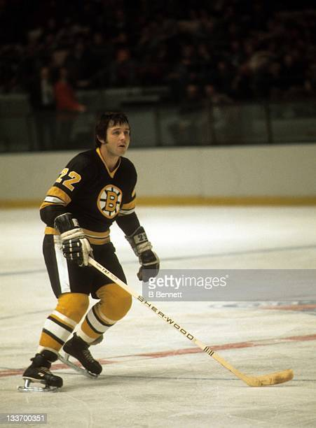 Brad Park of the Boston Bruins skates on the ice during an NHL game against the New York Rangers on November 26 1976 at the Madison Square Garden in...