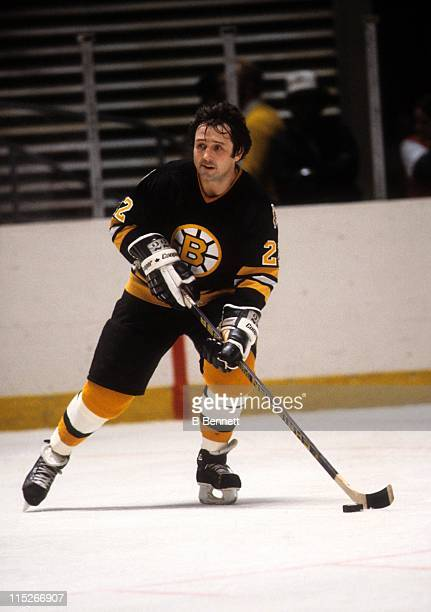 Brad Park of the Boston Bruins skates with the puck during an NHL game circa 1977