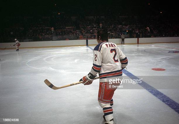 Brad Park of the New York Rangers plays the point during an NHL game against the Atlanta Flames circa 1972 at the Madison Square Garden in New York...