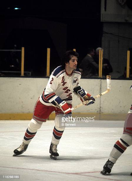 Brad Park of the New York Rangers skates on the ice during an NHL game in November 1975 at the Madison Square Garden in New York New York