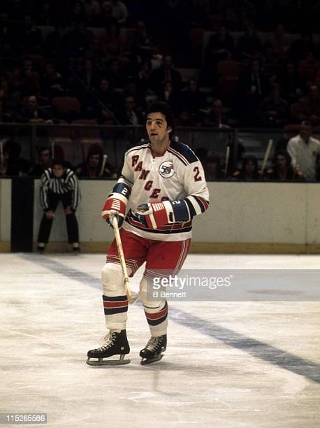 Brad Park of the New York Rangers skates on the ice during an NHL game against the Boston Bruins on November 26 1975 at the Madison Square Garden in...