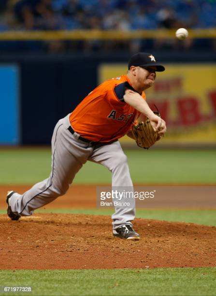 Brad Peacock of the Houston Astros pitches during the eighth inning of a game against the Tampa Bay Rays on April 23 2017 at Tropicana Field in St...