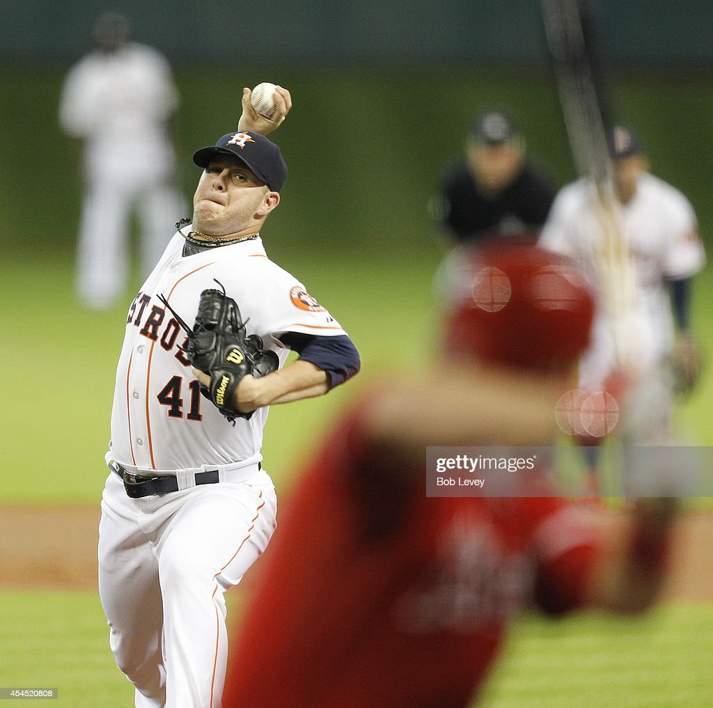 Brad Peacock #41 of the Houston Astros throws in the first inning against the Los Angeles Angels of Anaheim at Minute Maid Park on September 2, 2014 in Houston, Texas.