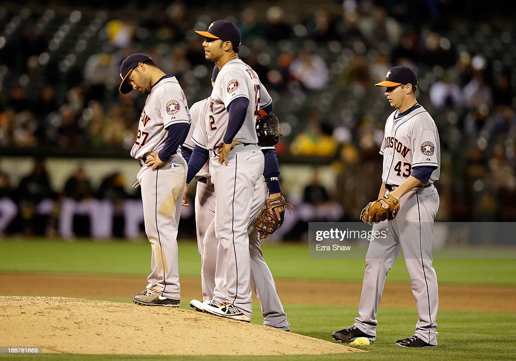 Brad Peacock #43 of the Houston Astros waits with his teammates to be taken out of the game in the fifth inning against the Oakland Athletics at O.co Coliseum on April 16, 2013 in Oakland, California.