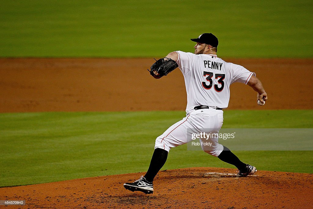 <a gi-track='captionPersonalityLinkClicked' href=/galleries/search?phrase=Brad+Penny&family=editorial&specificpeople=211561 ng-click='$event.stopPropagation()'>Brad Penny</a> #33 of the Miami Marlins pitches during the third inning of the game against the New York Mets at Marlins Park on September 2, 2014 in Miami, Florida.