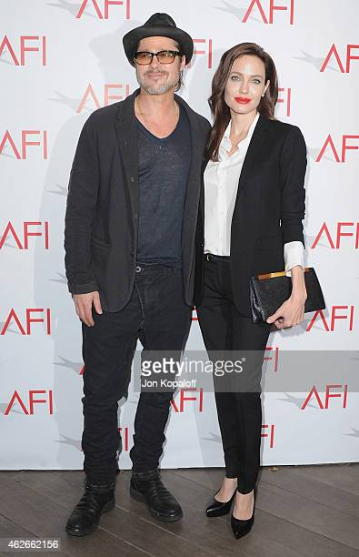 Brad Pitt and Angelina Jolie arrive at the 15th Annual AFI Awards at Four Seasons Hotel Los Angeles at Beverly Hills on January 9 2015 in Beverly...