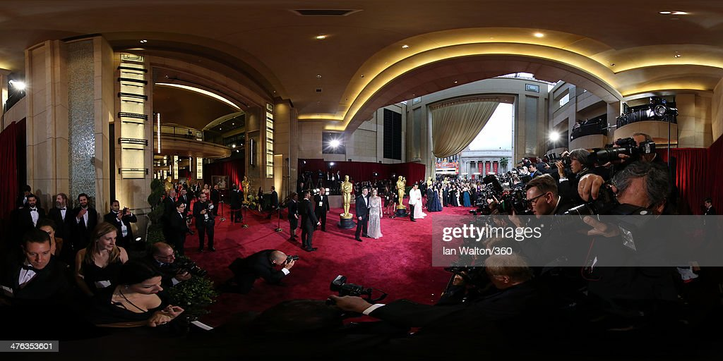 Brad Pitt and Angelina Jolie arrive at the 86th Annual Academy Awards at the Hollywood & Highland Center on March 2, 2014 in Hollywood, California.