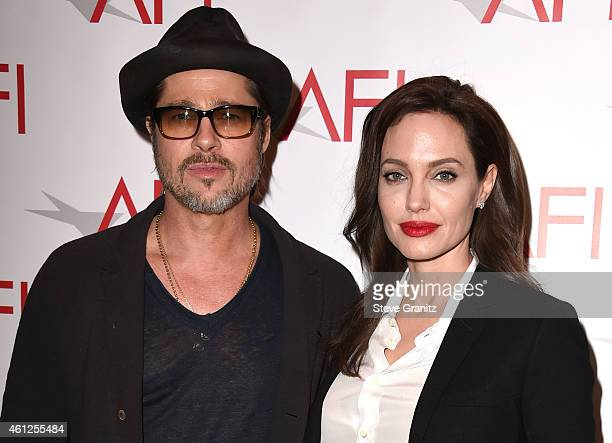 Brad Pitt and Angelina Jolie arrives at the 15th Annual AFI Awards at Four Seasons Hotel Los Angeles at Beverly Hills on January 9 2015 in Beverly...