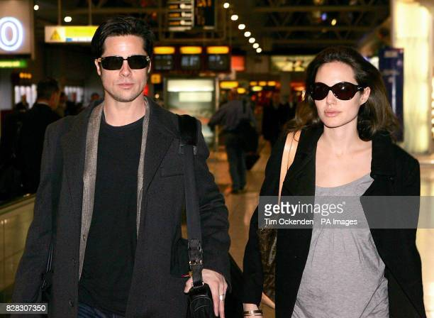 Brad Pitt and Angelina Jolie at Heathrow Airport where they are due to leave the UK on a flight to Zurich
