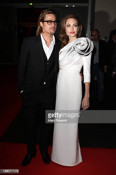 Brad Pitt and Angelina Jolie attend the 'In the Land Of Blood And Honey' Premiere on February 16 2012 in Paris France