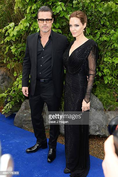 Brad Pitt and Angelina Jolie attend the 'Maleficent' Costume And Props Private Reception at Kensington Palace on May 8 2014 in London England
