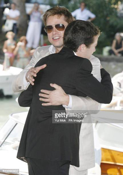 Brad Pitt and Casey Affleck after arriving by boat for his film 'The Assassination of Jesse James By The Coward Robert Ford' at the Venice Film...