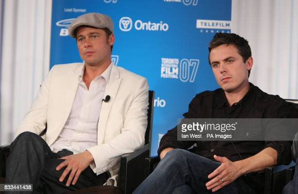 Brad Pitt and Casey Affleck are seen at a press conference for new film The Assasination of Jesse James as part of the Toronto Film Festival at the...