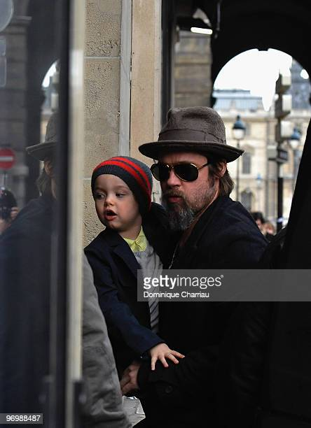 Brad Pitt and daughter Shiloh JoliePitt go shopping at Bonpoint shop in Paris on February 23 2010 in Paris France