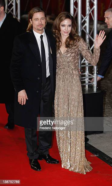 Brad Pitt and director Angelina Jolie attend the 'In The Land Of Blood And Honey' Premiere during day three of the 62nd Berlin International Film...
