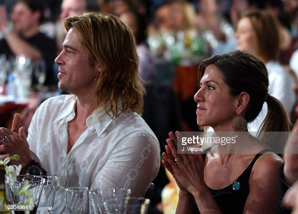 Brad Pitt and Jennifer Aniston during The 18th Annual IFP Independent Spirit Awards Show at Santa Monica Beach in Santa Monica California United...