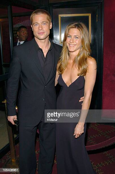 Brad Pitt and Jennifer Aniston during 'Troy' New York Premiere Inside Arrivals at Zeigfeld Theater in New York City New York United States
