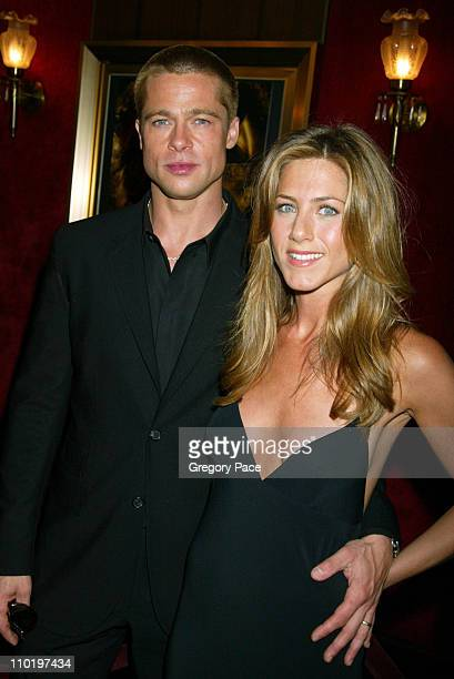 Brad Pitt and Jennifer Aniston during 'Troy' New York Premiere Inside Arrivals at Ziegfeld Theater in New York City New York United States