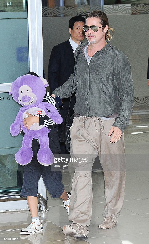 Brad Pitt and Pax Jolie Pitt are seen upon arrival at Gimpo Airport on June 11, 2013 in Seoul, South Korea.