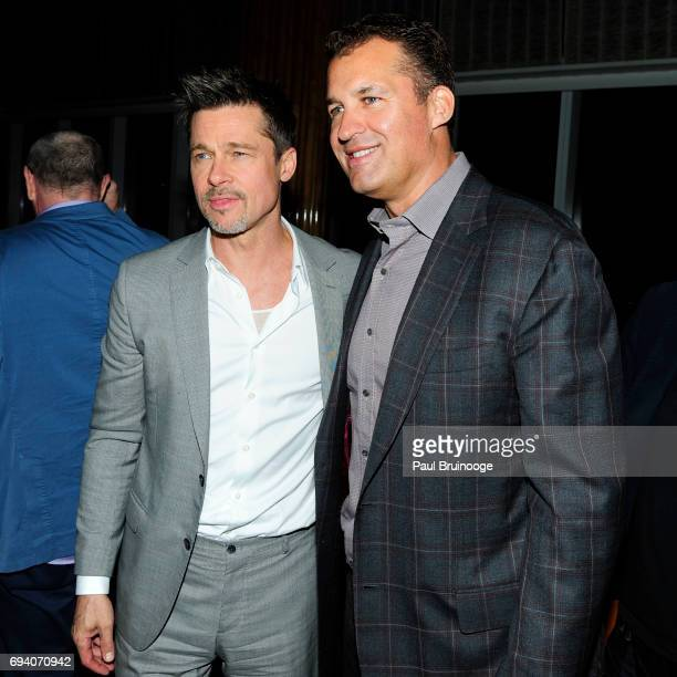 Brad Pitt and Scott Stuber attend Netflix hosts the after party for 'Okja' at AMC Lincoln Square Theater on June 8 2017 in New York City