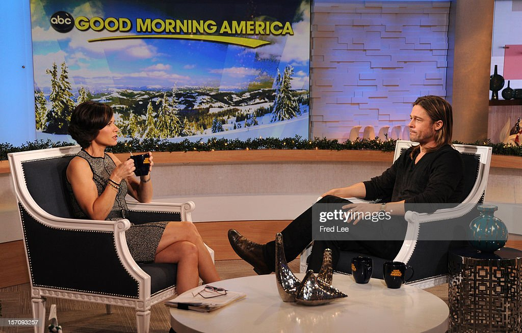 AMERICA - Brad Pitt appears on 'Good Morning America,' 11/29/12, airing on the ABC Television Network. (Photo by Donna Svennevik/ABC via Getty Images)ELIZABETH VARGAS, BRAD PITT