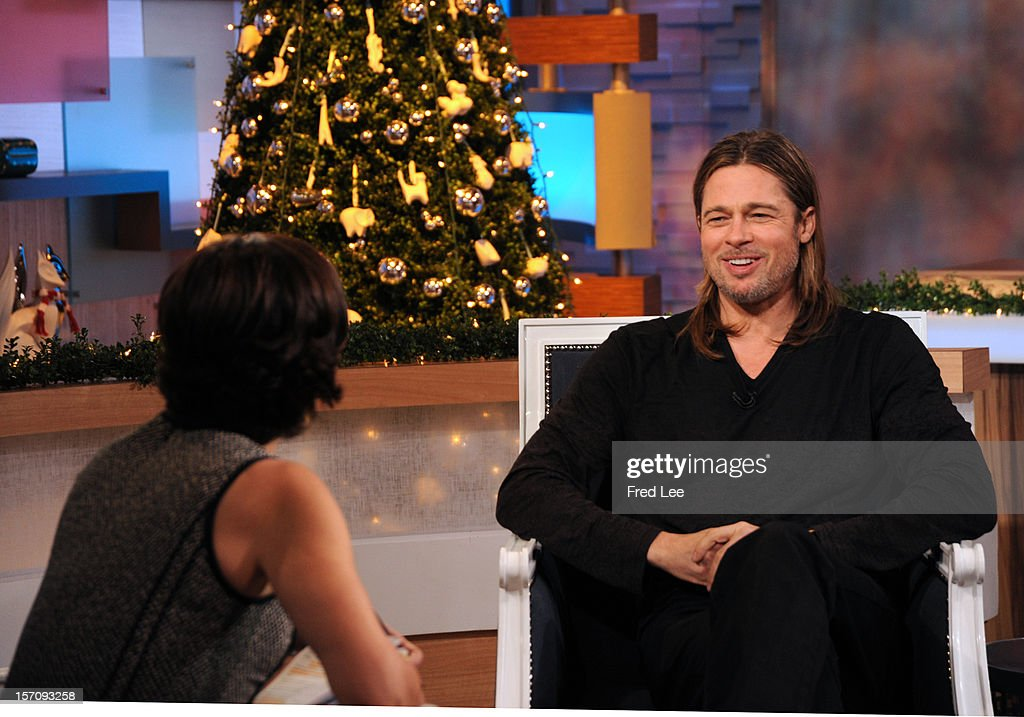 AMERICA - <a gi-track='captionPersonalityLinkClicked' href=/galleries/search?phrase=Brad+Pitt+-+Actor&family=editorial&specificpeople=201682 ng-click='$event.stopPropagation()'>Brad Pitt</a> appears on 'Good Morning America,' 11/29/12, airing on the ABC Television Network. (Photo by Donna Svennevik/ABC via Getty Images)ELIZABETH VARGAS, BRAD PITT