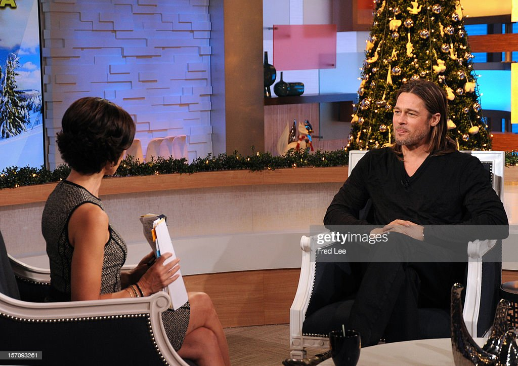 AMERICA - <a gi-track='captionPersonalityLinkClicked' href=/galleries/search?phrase=Brad+Pitt&family=editorial&specificpeople=201682 ng-click='$event.stopPropagation()'>Brad Pitt</a> appears on 'Good Morning America,' 11/29/12, airing on the ABC Television Network. (Photo by Donna Svennevik/ABC via Getty Images)ELIZABETH VARGAS, BRAD PITT