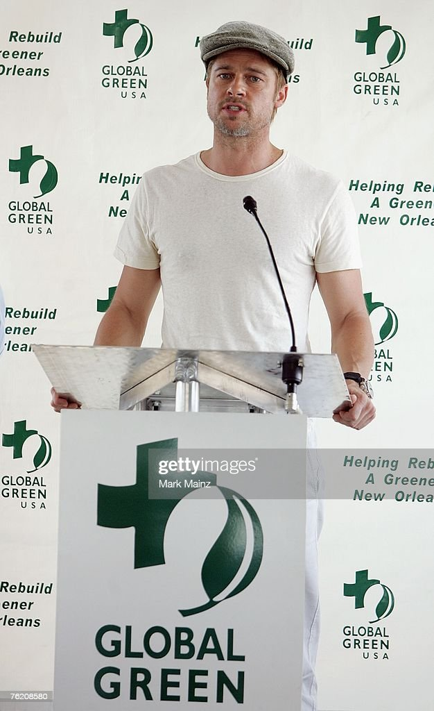 Brad Pitt attends a press conference for the Global Green USA's first house project at the Holy Cross Neigbourhood association project in the 9th...